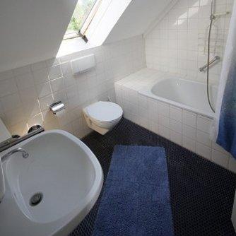 Ferienwohnung Hafenblick 5 Orth Badezimmer