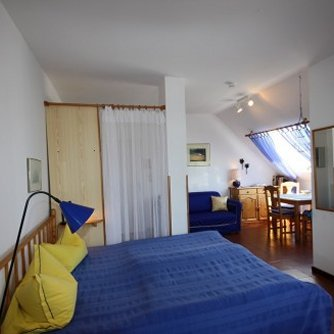Ferienwohnung Hafenblick 5 Orth Schlafbereich