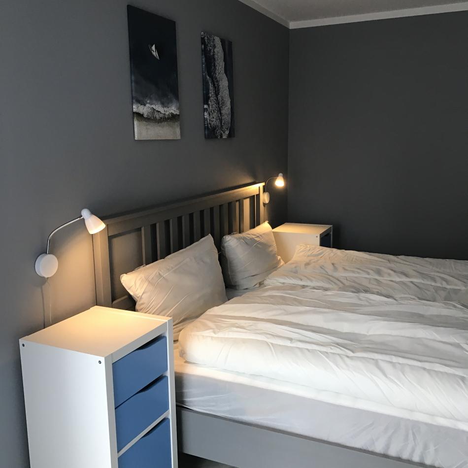Hafenmeisterei Schlafzimmer mit Doppelbett