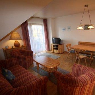 Ferienwohnung Überblick Petersdorf Wohnzimmer